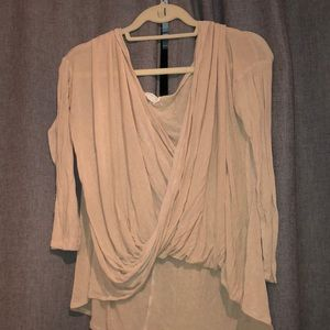 Necessary Clothing Nude long Sleeve Wrap Top